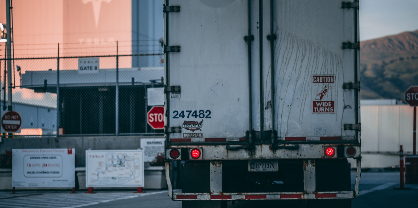 Rear of a freight vehicle