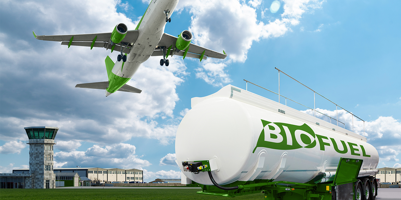 Image of a bio fuel tanker and an aeroplane