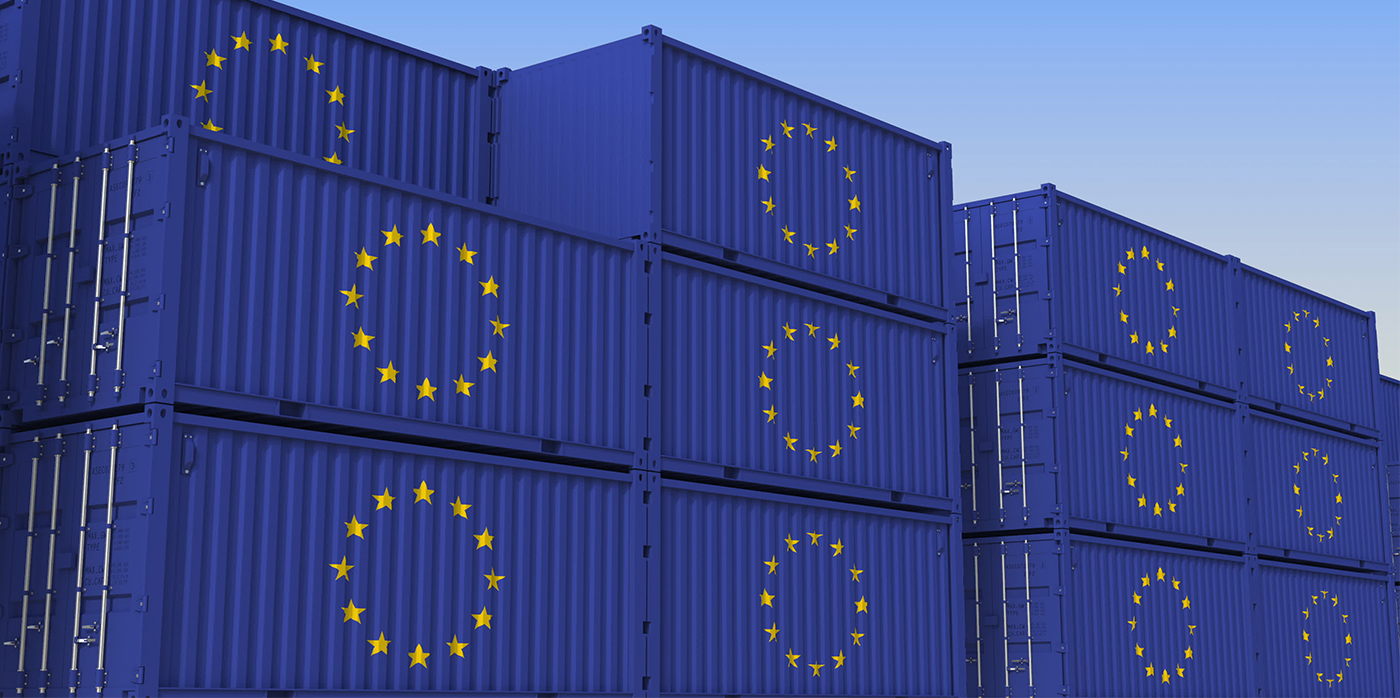 cargo containers painted with EU flag