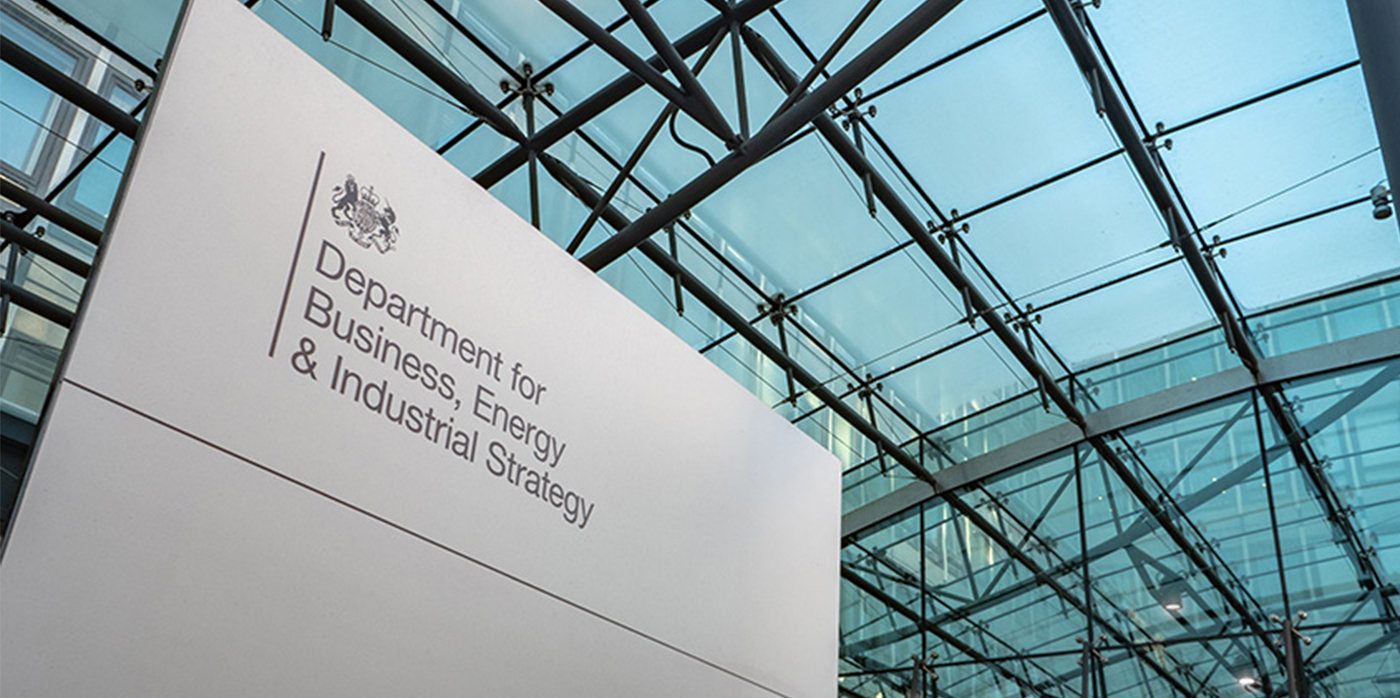 sign outside Department for business anergy and industrial strategy building