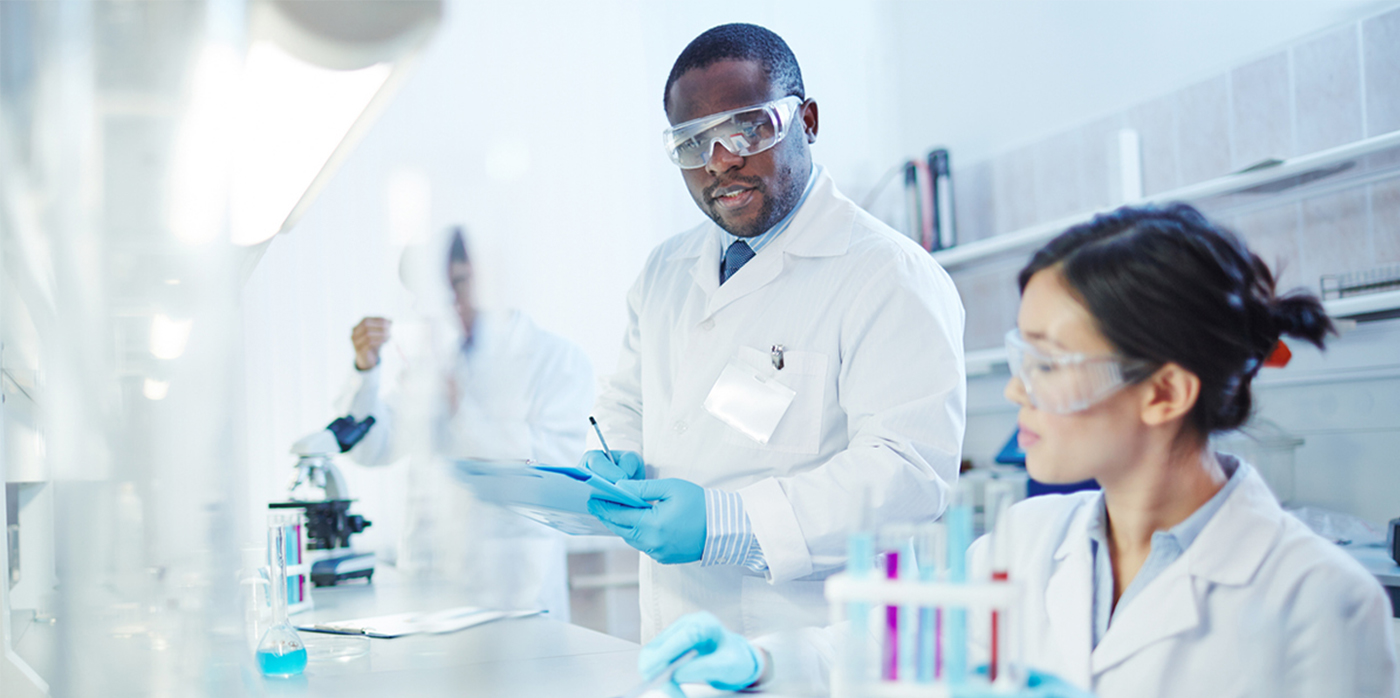 lab technicians in lab environment